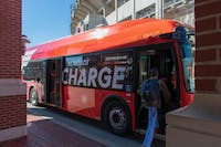 An Xcelsior CHARGE electric bus is being tested by Tiger Transit for possible use on university bus routes on Wednesday, Jan. 16, 2019, in Auburn, Ala.