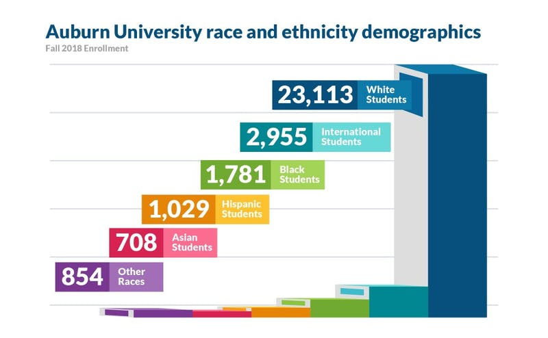 Fall 2018 student demographics show that 23,113 white students are enrolled while only 1,781 black students are enrolled.