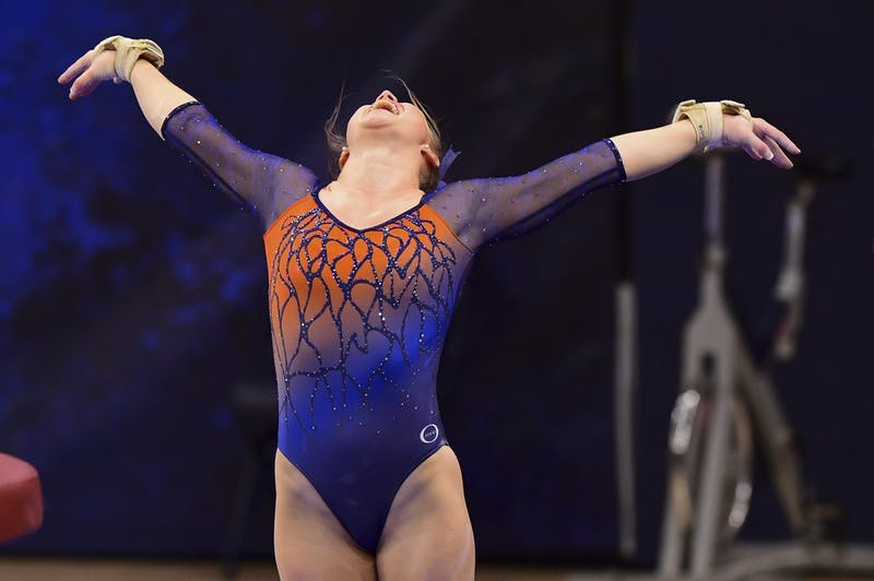 Feb 5, 2021; Auburn, AL, USA; Auburn Tigers Adeline Sabados reacts after competing in vault during the gymnastics meet against LSU at Auburn Arena. Mandatory Credit: Shanna Lockwood/AU Athletics