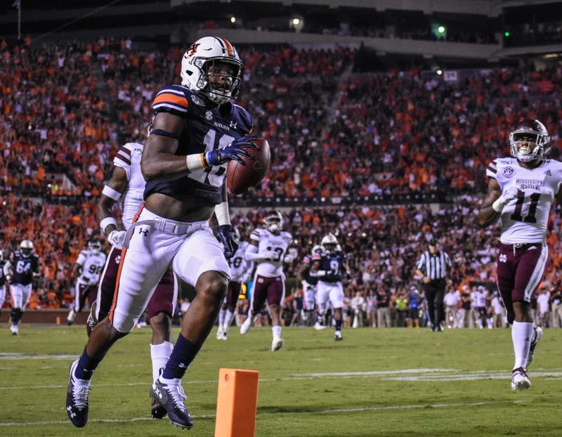 Auburn runs the ball during Auburn vs. Mississippi State, on Saturday, Sept. 28, 2019, in Auburn, Ala.