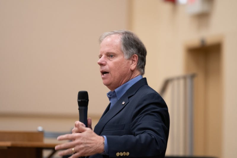 Senator Doug Jones speaks on Tuesday, Oct. 8, 2019, in Auburn, Ala.