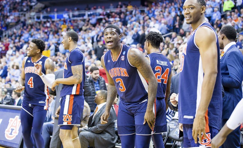 Danjel Purifoy (3) cheers during Auburn basketball vs. North Carolina in the Midwest Region semifinal of the 2019 NCAA Tournament on March 29, 2019, in Kansas City, Mo. Photo courtesy Lauren Talkington / The Glomerata.