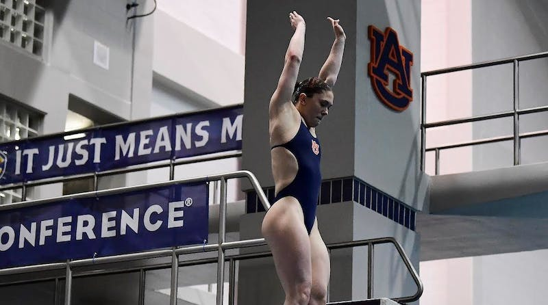Alison Maillard wins gold for 1-meter diving Tuesday.