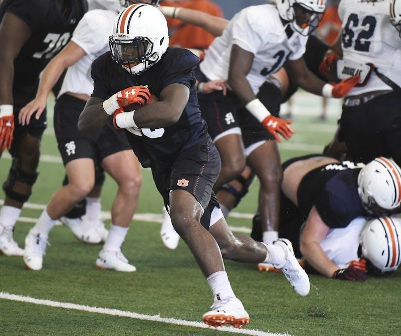 JaTarvious Whitlow runs in team drills Sunday.Auburn football practice, shells, on Sunday, Aug. 5, 2018 in Auburn, Ala.Todd Van Emst/AU Athletics