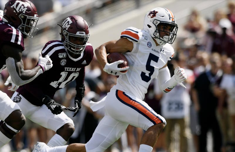 Anthony Schwartz (5) runs the ball during Auburn at Texas A&M.