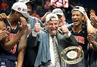 Head coach Bruce Pearl celebrates his team's SEC Tournament win against Tennessee at the Bridgestone Arena on Sunday, March 17, 2019. Courtesy Caitlyn Jordan / The Daily Beacon.