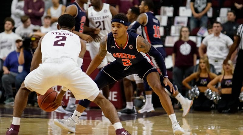 Bryce Brown (2) during Auburn men's basketball vs. Texas A&M in College Station, Texas, on Jan. 16, 2019.