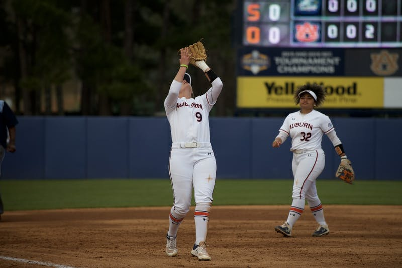 Tannon Snow (9) catches a fly ball in Auburn Softball vs. Georgia Southern on Mar 1, 2020 in Auburn, AL