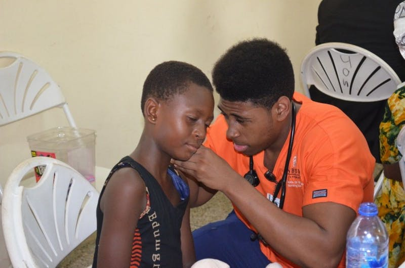An Auburn nursing student sees a patient at Effia-Nkwanta Regional Hospital in Sekondi, Ghana.