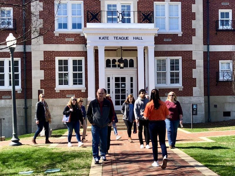 Student Recruiters show future Auburn students around campus during a tour Feb. 18, 2019, in Auburn, Ala.