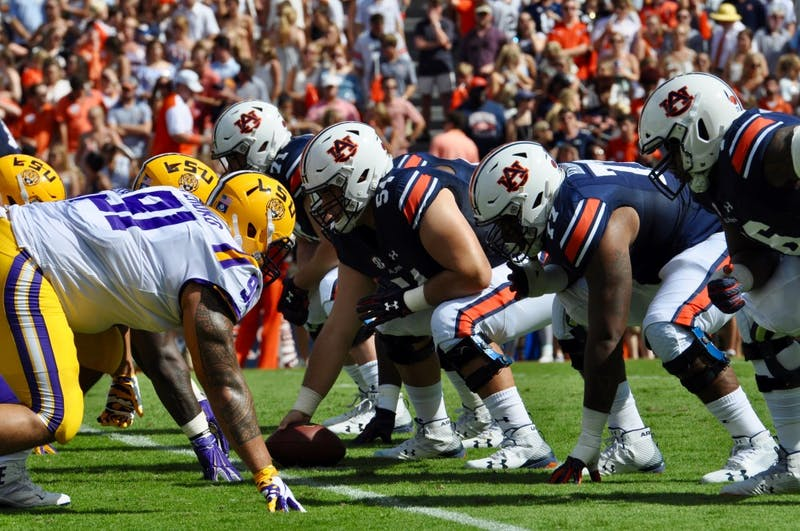 The Auburn Tigers offensive line during Auburn Football vs. LSU on Saturday, Sept. 15, 2018 in Auburn, Ala.