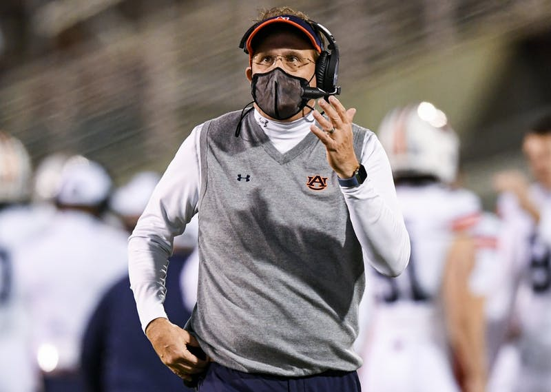 Starkville, Mississippi, USA; Coach Gus Malzahn reacts during the game between Auburn and Mississippi State at Davis Wade Stadium. Mandatory Credit: Todd Van Emst/AU Athletics