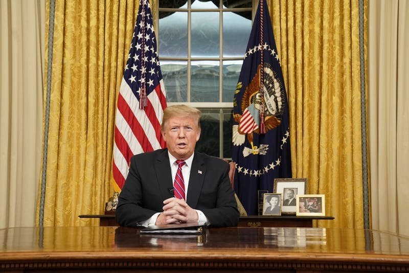 President Donald Trump speaks to the nation in a prime-time address from the Oval Office of the White House on Tuesday, Jan. 8, 2019, in Washington, D.C. (Carlos Barria/Getty Images/Pool/Abaca Press/TNS)
