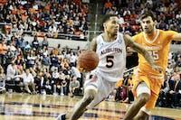 J'Von McCormick (5) during the Auburn Men's Basketball vs. Tennessee game on Saturday, Feb. 22, 2020, in Auburn, Ala.