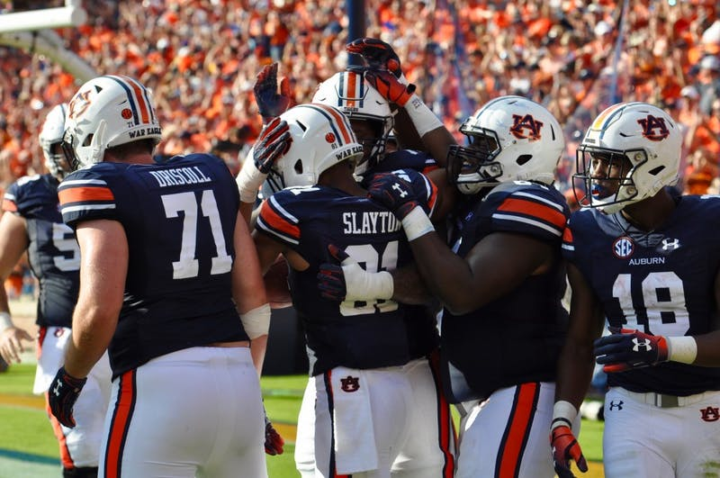 Auburn celebrates after Darius Slayton's (81) touchdown during Auburn football vs. LSU on Sept. 15, 2018, in Auburn, Ala.