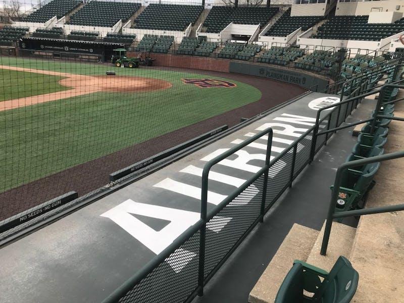 Plainsman Park's new dugouts.