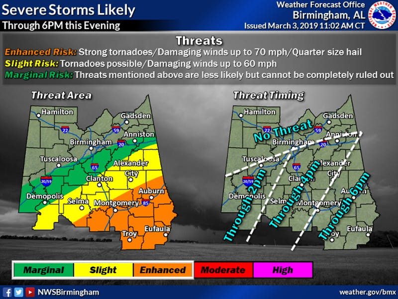 Severe weather is possible in the Auburn area through 6 p.m.