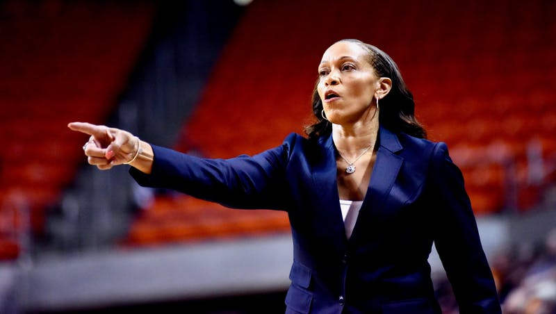 Coach Terri Williams-Flournoy calls a play during Auburn Women's Basketball vs. Tennessee on Thursday, Jan. 3, 2019, in Auburn, Ala.