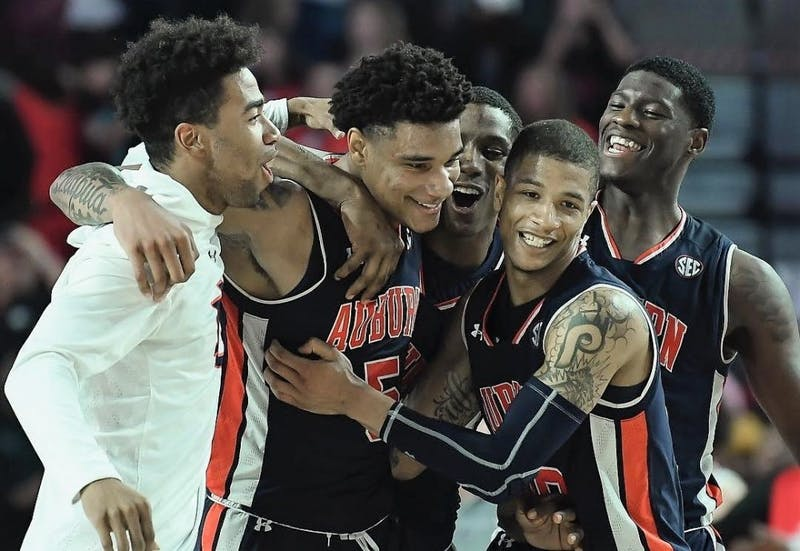 Chuma Okeke (5) celebrates Auburn's 78-75 win over Georgia on Feb. 27, 2019, in Athens, Ga. Via @AuburnTigers on Instagram.