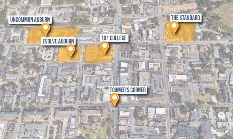 A map shows four of the biggest new apartment complexes that have come online in the past year or are currently being constructed.