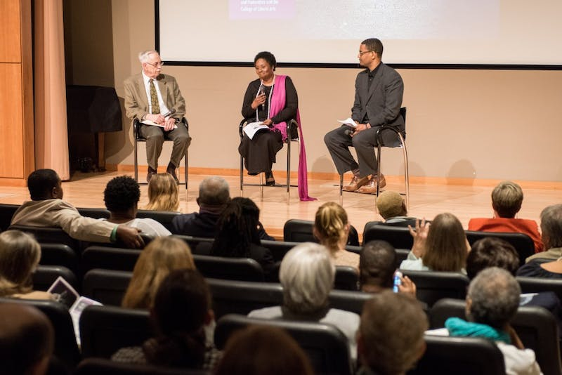 Dr. Wayne Flint, Joan Harrell, and Rev. Dr. Otis Moss speak at the Becoming the Beloved Community event at the Jule Collins Smith Museum of Fine Art in Auburn, Ala., on Thursday, April 5, 2018.
