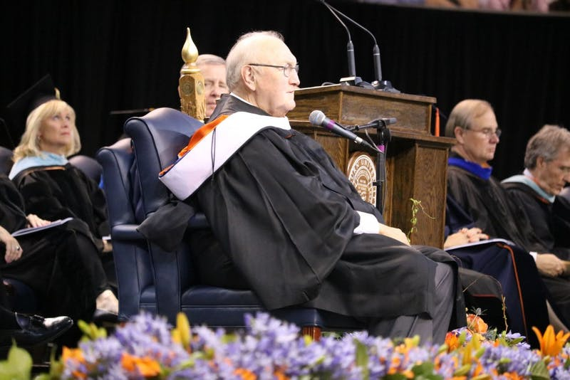 David Housel, former Auburn University athletic director, delivers a charge to the graduates during Auburn University's Commencement Ceremony on Sunday, May 7, 2017 in Auburn, Ala.