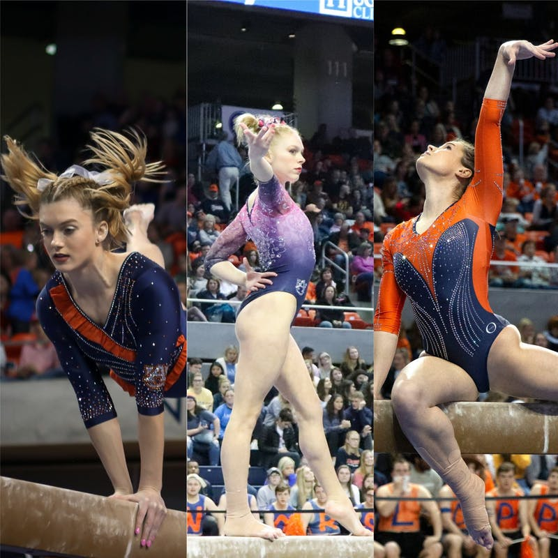 Various leotards worn by Auburn gymnastics during the 2020 season. (left) photo via Logan Ellison / Plainsman Photographer. (middle) photo via Ireland Dodd / Photo Editor. (right) photo via Kathryn Mussell / Plainsman Photographer.