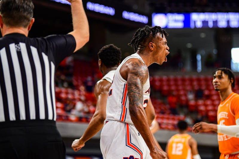 Auburn Tigers guard Allen Flanigan (22) reacts after a play during the game between Auburn and Tennessee at Auburn Arena on Feb 27, 2021; Auburn, AL, USA. Photo via: Shanna Lockwood/AU Athletics
