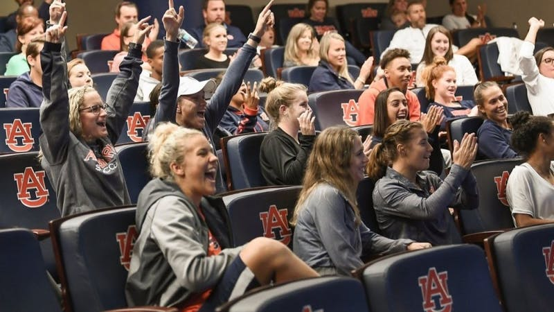 Auburn soccer celebrates its NCAA Tournament selection (Photo via @AuburnSoccer on Twitter).