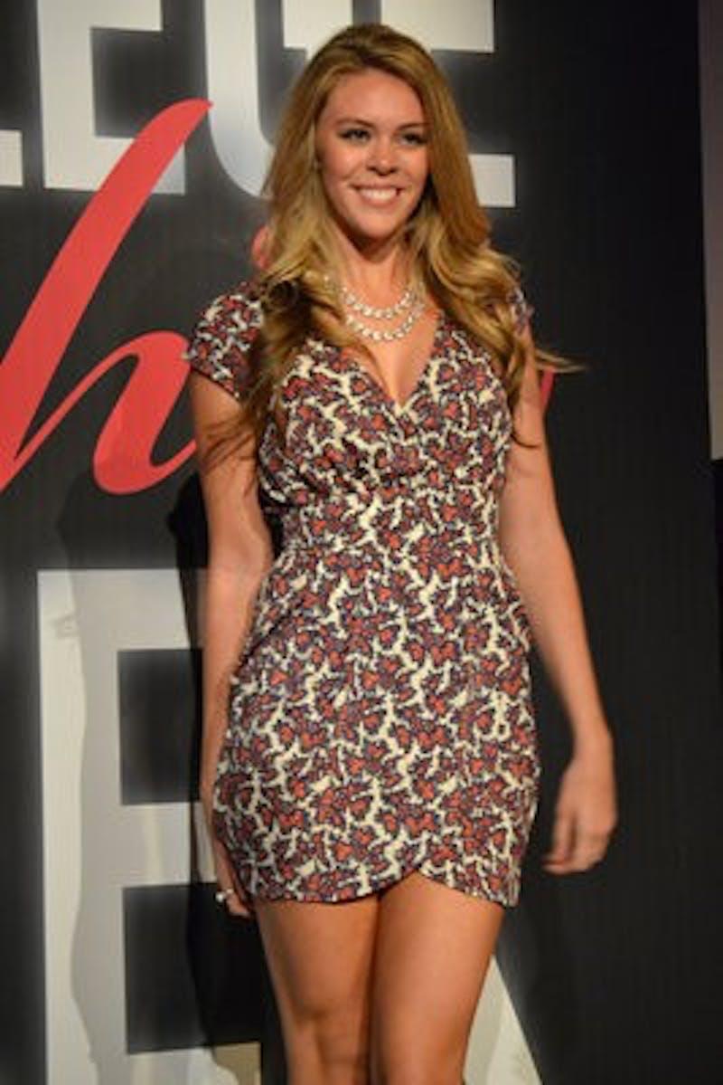 Madalyn Vines models an Auburn game day dress.
