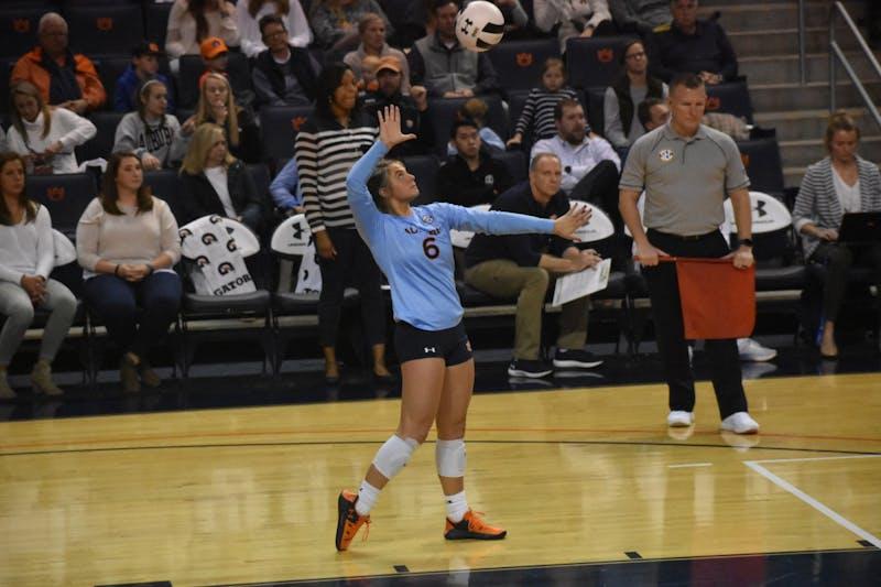 Auburn player Bella Rosenthall (6) serves the ball at the Auburn v. Mississippi Volleyball Game in Auburn, Al on November 1st.