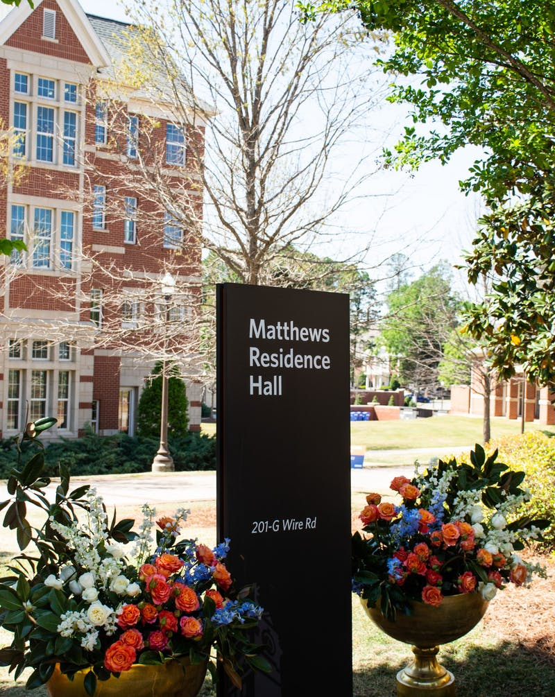 A new sign bears the name of Matthews Residence Hall in honor of Josetta Matthews, formerly Eagle Residence Hall.