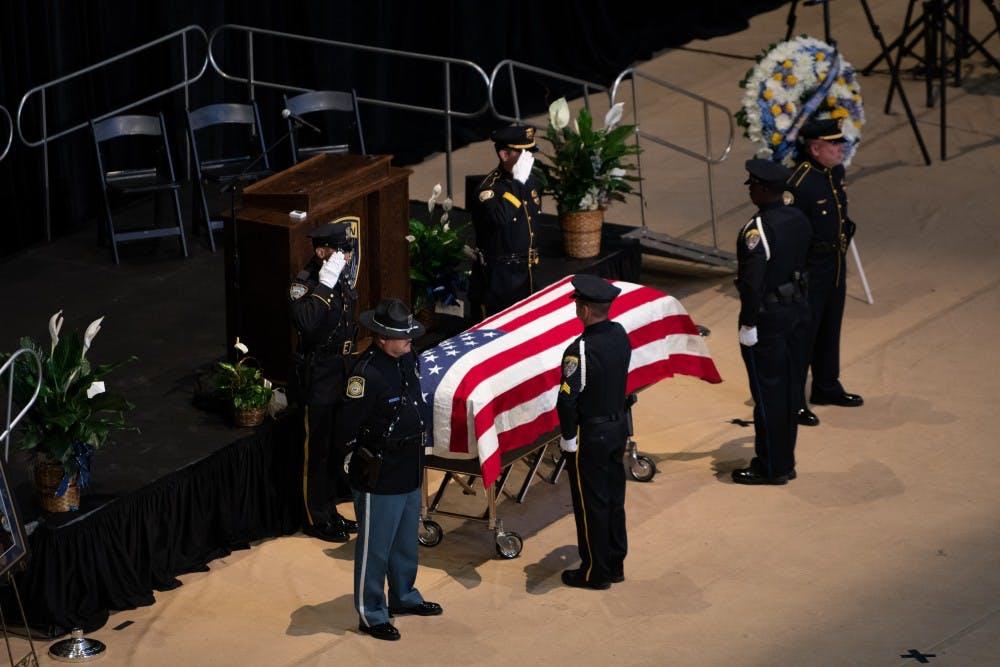 'He is the true hero': Funeral held for fallen officer in Auburn Arena