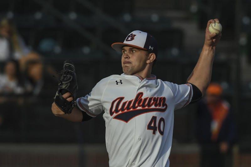 Garrett Wade (40). Auburn baseball vs Jacksonville State on Tuesday, April 9, 2019, in Auburn, Ala.