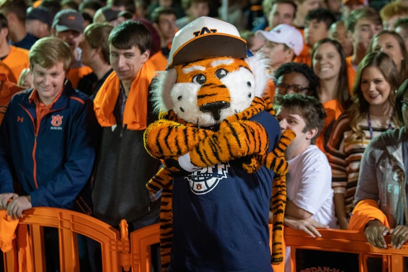 Aubie poses for a photo during Tipoff at Toomer's, on Thursday, Oct. 17, 2019, in Auburn, Ala.
