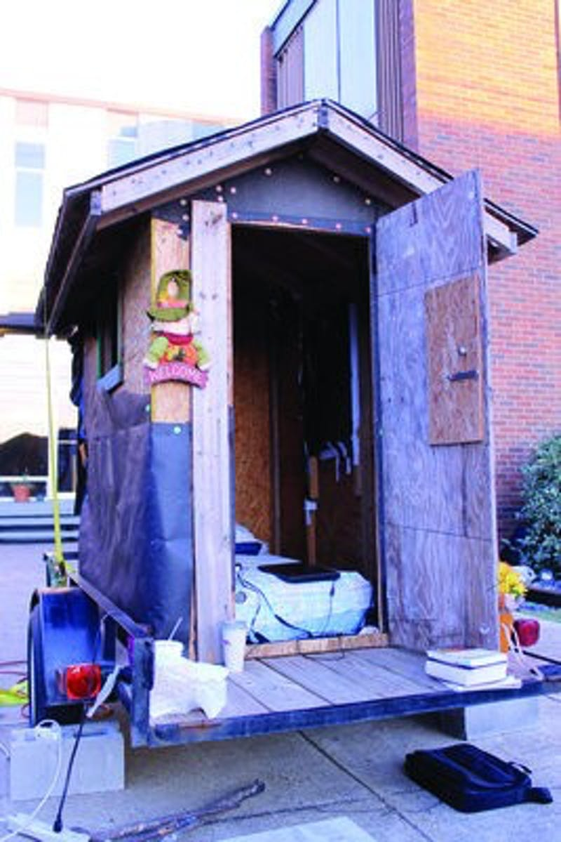 Pierce has been living in this shack since Oct. 11.