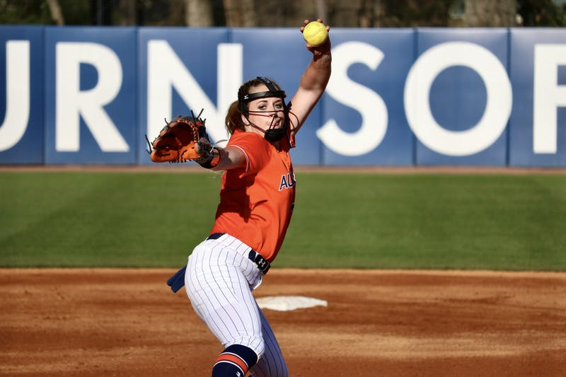 Lexie Handley (27) during the Auburn Softball vs. Alabama State on Saturday, Feb. 15, 2020, in Auburn, Ala.