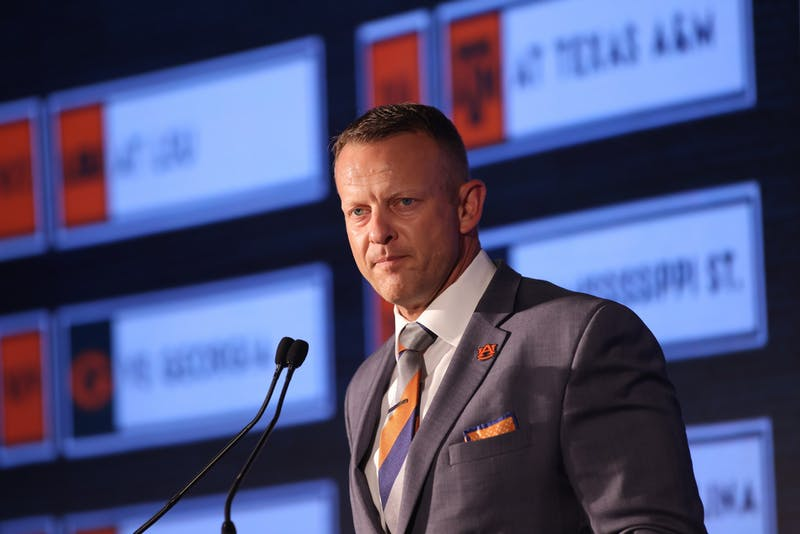 Auburn head coach Bryan Harsin speaks to the media during the 2021 SEC Football Kickoff Media Days on July 22,2021 at the Wynfrey Hotel,Hoover,Alabama. (Jimmie Mitchell/SEC)
