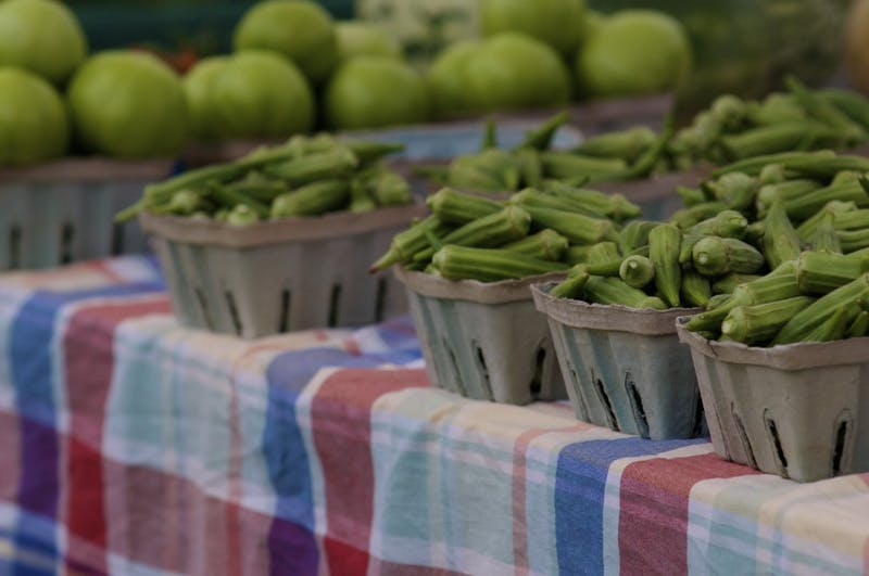 Fresh okra at Opelika Grows Farmer's Market on Tuesday, Aug. 29, 2017 in Opelika, Ala.