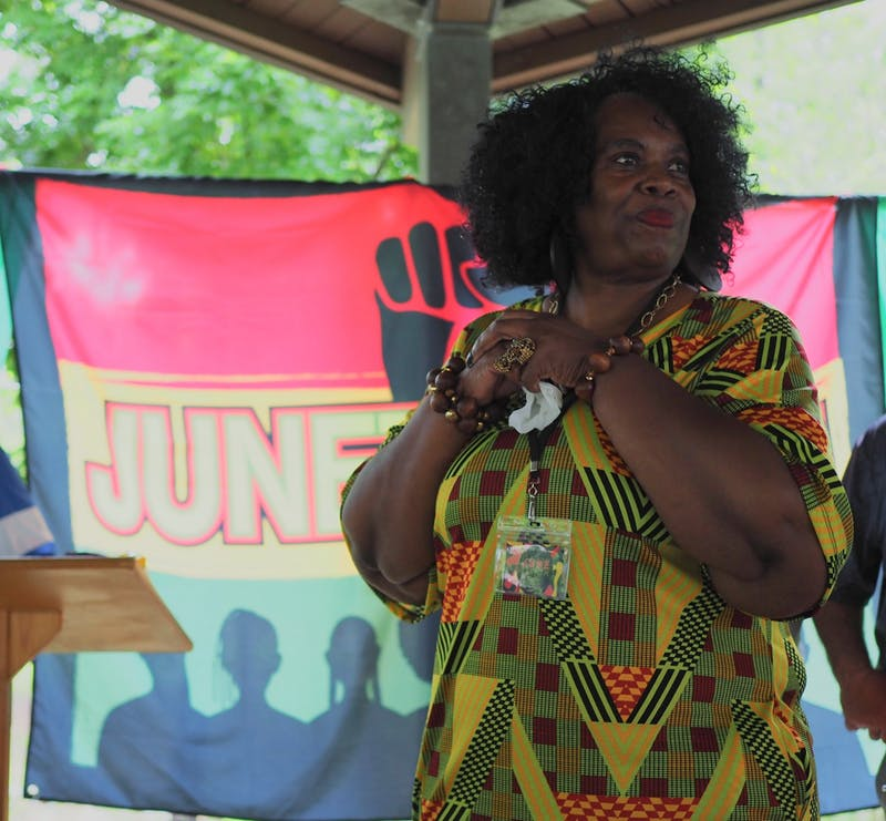 Ward 1 City Council member Connie Fitch-Taylor at the first annual Juneteenth celebration at Sam Harris Park on June 19, 2021, in Auburn, Ala.