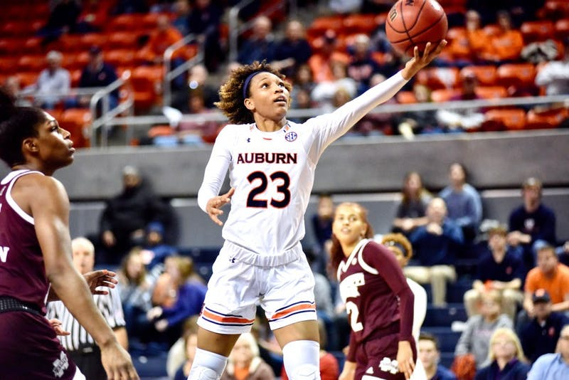 Crystal Primm (23) lays up the ball during Auburn Women's Basketball vs. Mississippi State on Monday, Jan. 14, 2019, in Auburn, Ala.