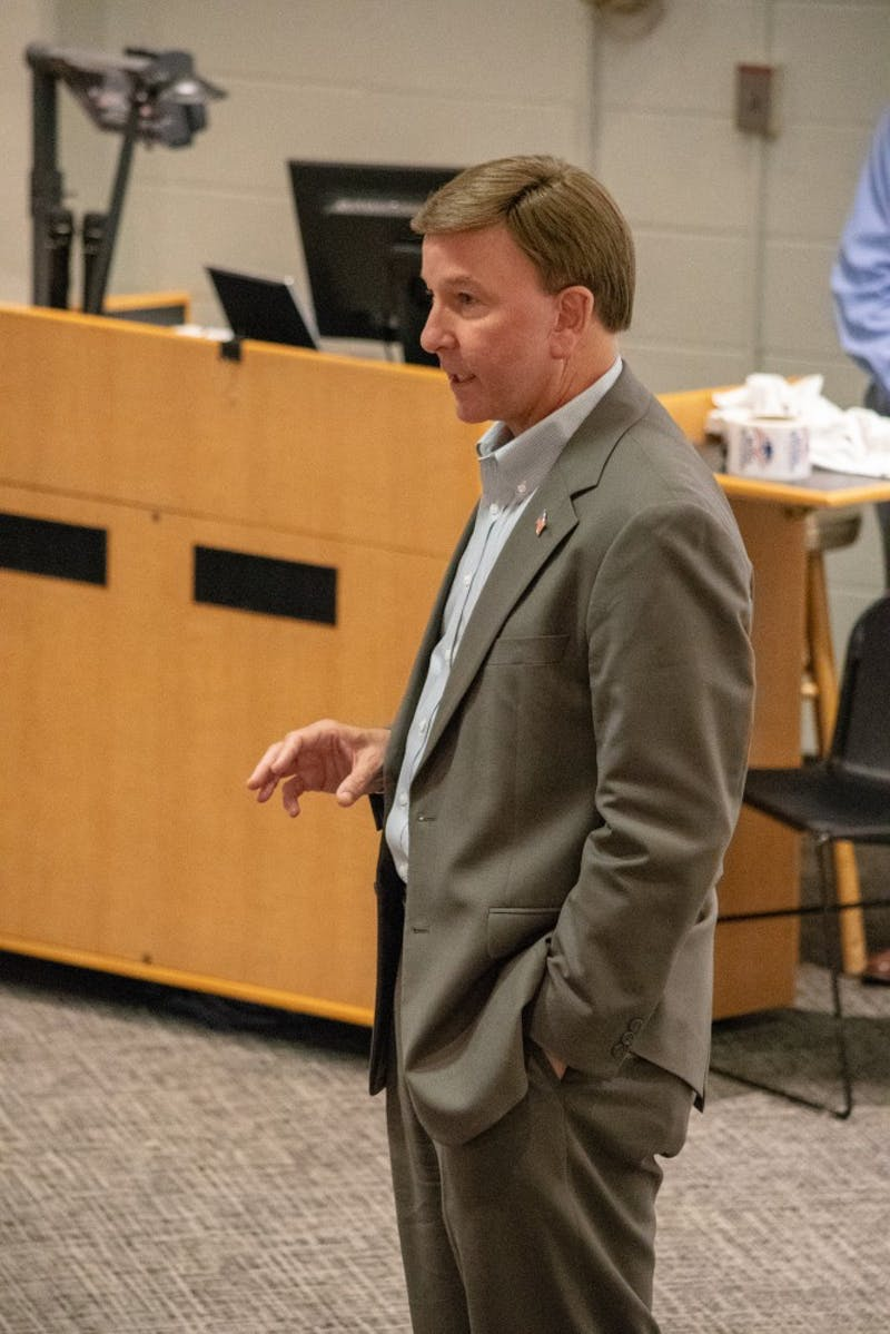 Mike Rogers speaks to the Auburn University College Republicans on Teusday, Sept. 18, 2018, in Auburn, Ala.