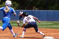 April 18, 2021; Auburn, AL, USA; Justus Perry (18) gets an out during the game between Auburn and Kentucky at Jane B. Moore Field . Mandatory Credit: Jacob Taylor/AU Athletics
