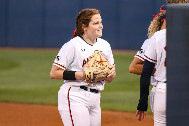 Shelby Lowe (55) reacts after getting an out during the game between Auburn and Kentucky at Jane B. Moore Field on Apr 16, 2021; Auburn, AL, USA. Photo via: Jacob Taylor/AU Athletics