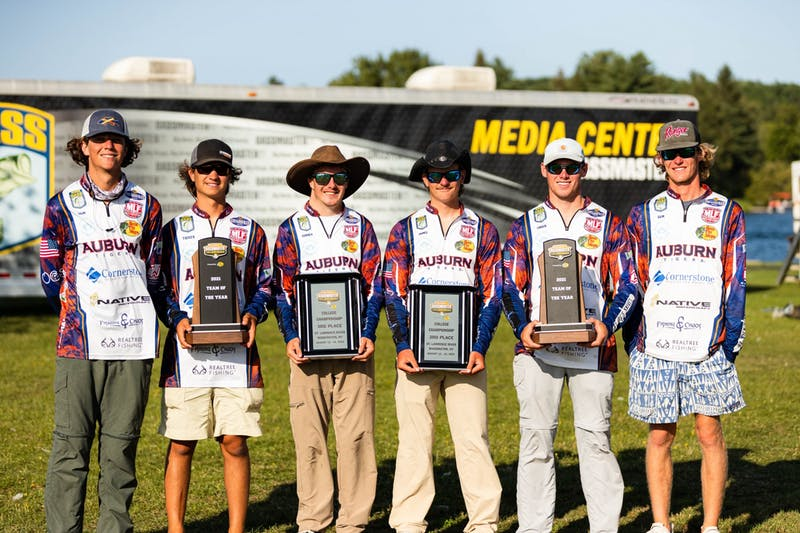 The Auburn Bass Fishing Club winners, from left to right, Sam Hoesley, Tucker Smith, Conner Crosby, James Cobbs, Logan Parks and Sam Hanggi.