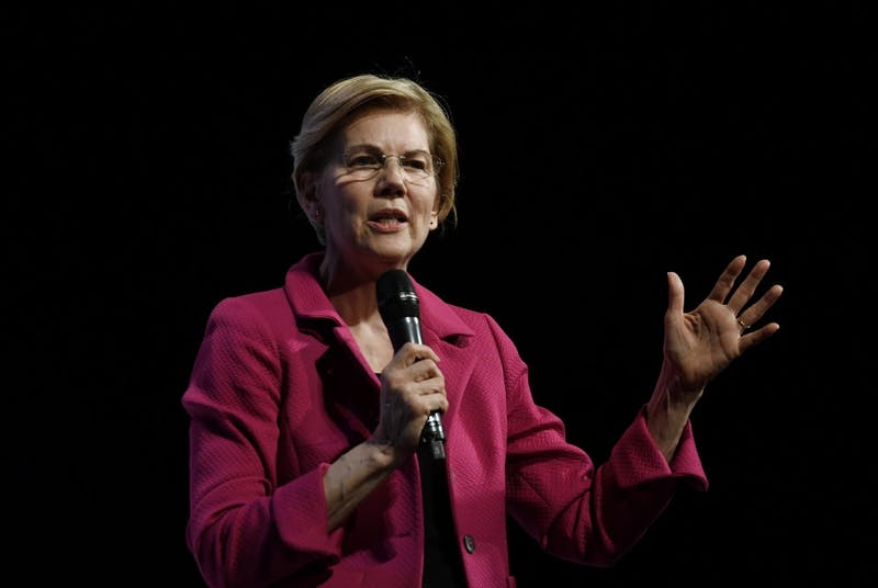 2020 Democratic presidential candidate Elizabeth Warren speaks at the 2019 We The People Membership Forum on April 1, 2019 in Washington, DC. (Olivier Douliery/Abaca Press/TNS)