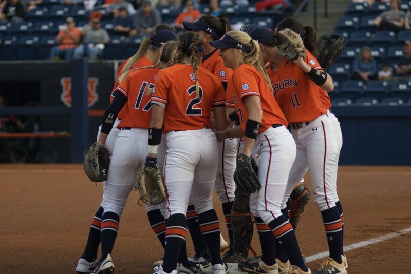 Auburn sets out for the game during the Auburn vs. Georgia Softball game on March 29, 2019, in Auburn, Ala.