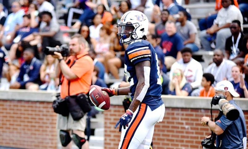 Eli Stove (12) after his touchdown at A-Day on April 13, 2019, in Auburn, Ala.