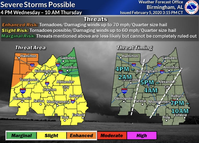 Possible threats include damaging winds, hail and possible tornadoes.