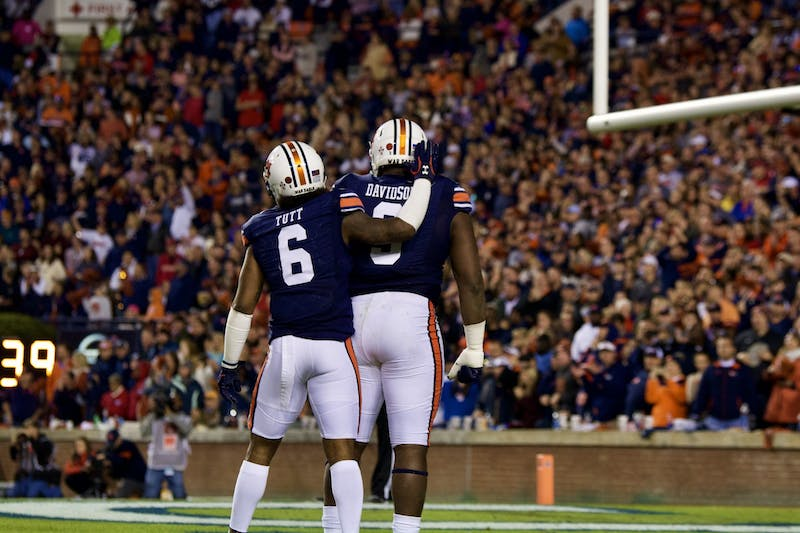 Christian Tutt (6) and Marlon Davidson (3) during the Auburn vs. Georgia game on Saturday, Nov. 16, 2019, in Auburn, Ala.